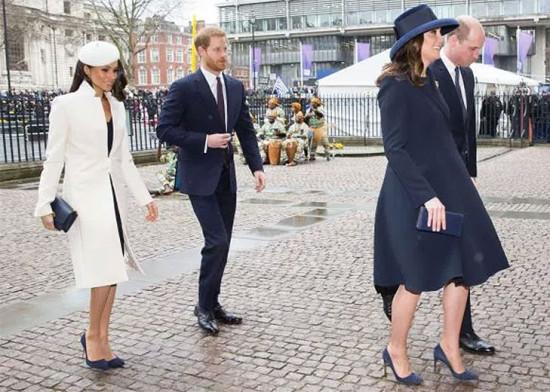 Casais nobres: Meghan Markle com príncipe Harry e Kate Middleton com príncipe William no dia da Commonwealth