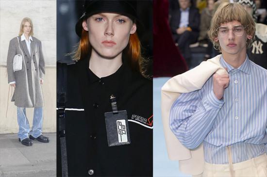 Depois do normcore, o... firmacore? Office-core? Sim, ele invadiu a moda! Da esq. pra dir.: o xadrez em alfaiataria da Balenciaga, o crachá da Prada e as listras na camisaria da Gucci. Veja mais!