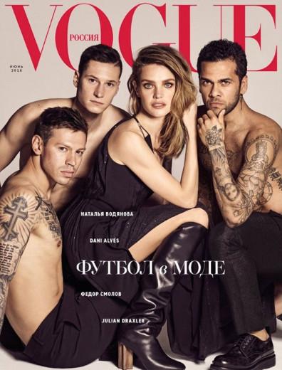 """Que time: Natalia Vodianova e os jogadores de futebol na capa da """"Vogue"""" Rússia!"""