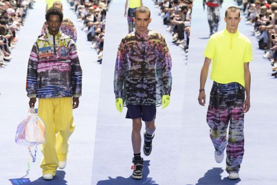 Nesses looks o tie-dye é coloridíssimo, combinado com peças neon! É da Louis Vuitton - vem ver mais na galeria!